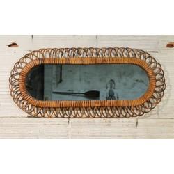 Miroir mural rotin années 60