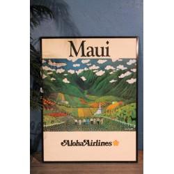 "Affiche ""Maui"" Aloha Airlines années 80"