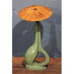 Lampe céramique & raphia années 50