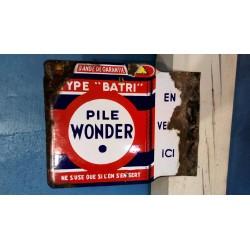 """Plaque émaillée """"Pile Wonder"""" années 50"""