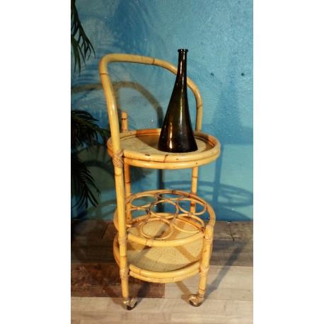 Chariot desserte bar bambou années 60