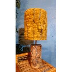 Lampe céramique & laine Monange années 60