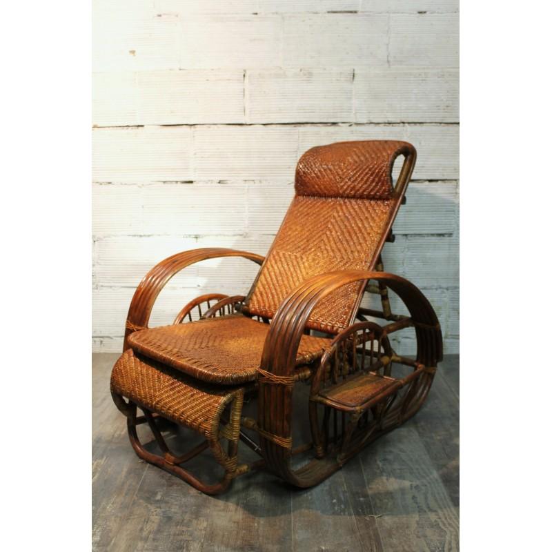 chaise longue rotin ann es 60. Black Bedroom Furniture Sets. Home Design Ideas