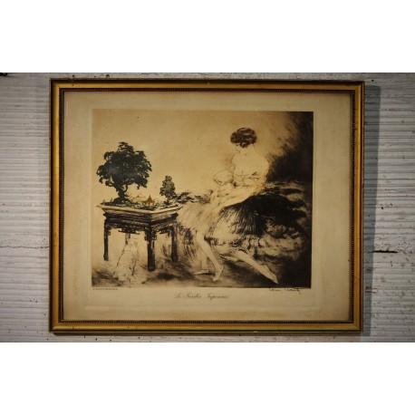 """Cadre """"Le jardin Japonais"""" Louis Icart 1932"""
