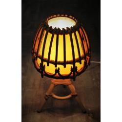 "Lampe rotin ""Champignon"" années 60"