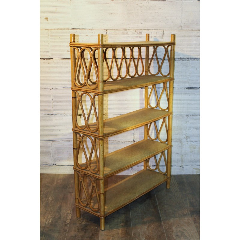 etagere sur pied bambou rotin ann es 70. Black Bedroom Furniture Sets. Home Design Ideas