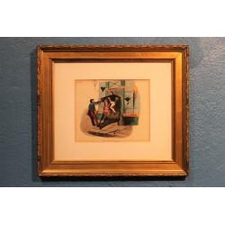 """Lithographie """"Un cheval de louage"""" XIXème siècle"""