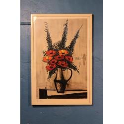 """Lithographie """"Les Pavots"""" Buffet années 70"""