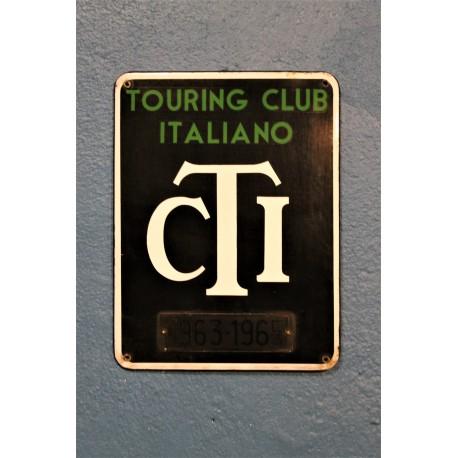 """Plaque émaillée """"Touring Club Italiano"""" années 60"""