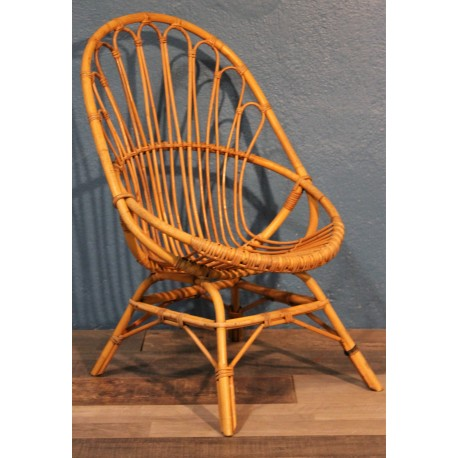 """Fauteuil rotin """"Coquille"""" années 60"""