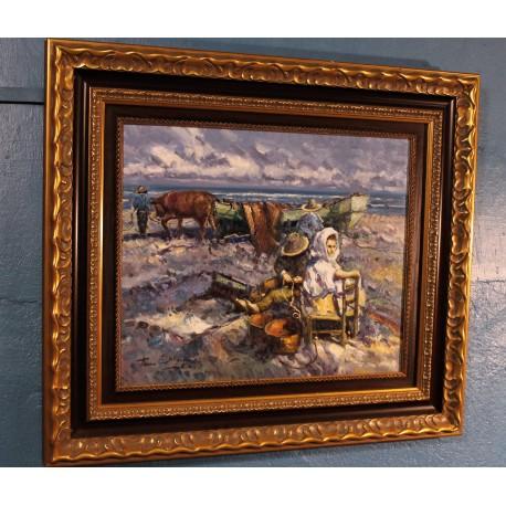 """Huile sur toile """"Pêcheurs"""" Seymour XIXème siècle"""