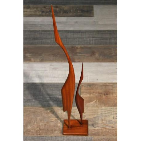 """Statuette """"Hérons"""" teck années 60"""