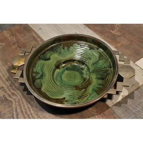Plat céramique métal années 20