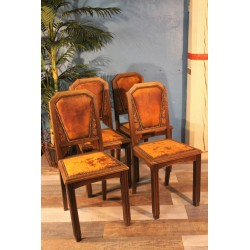 Chaises bois & cuir années 30