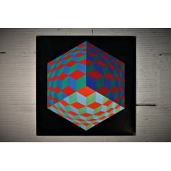 "Lithographie Vasarely ""HAT-VI"" années 70"
